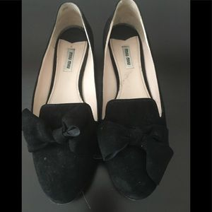 Black Suede Miu Miu Loafers w/ Jewel accents